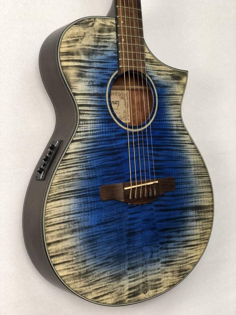 Ibanez Ibanez AEWC32FM Acoustic/Electric Guitar, Flame Maple Glacier Blue Low Gloss