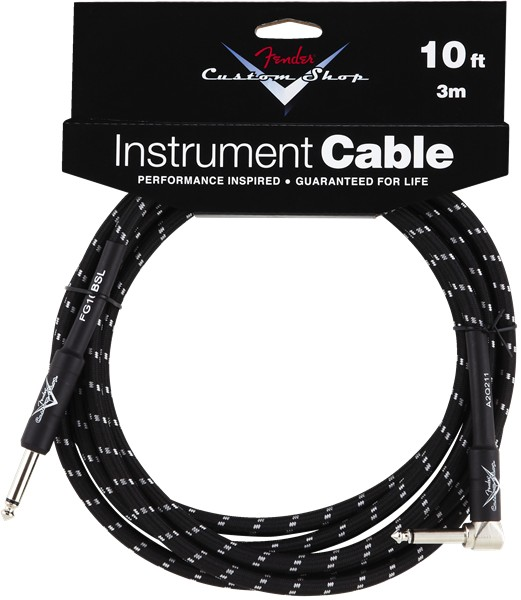 Fender Fender® 10' Custom Shop Series Instrument Cable, Black, Angled