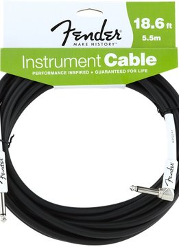 Fender Fender® Performance Series Instrument Cable, 18.6', Angled, Black
