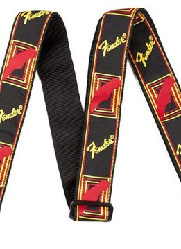 "Fender Fender®  2"" Monogrammed Strap, Black/Yellow/Red"