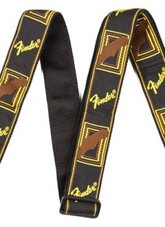 "Fender Fender® 2"" Monogrammed Strap, Black/Yellow/Brown"