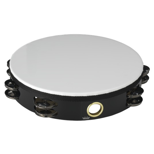 "Remo Remo 10"" Economy Double Row Tambourine With Head, Black"