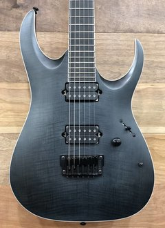 Ibanez Ibanez Iron Label RGAIX6FM Flame Maple/Mahogany Electric Guitar, Transparent Gray Flat
