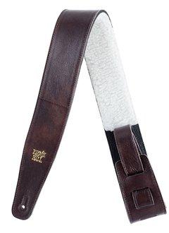 "Ernie Ball Ernie Ball 2.5"" Italian Leather Strap with Fur Padding, Chestnut"