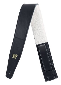"Ernie Ball Ernie Ball 2.5"" Italian Leather Strap with Fur Padding, Black"