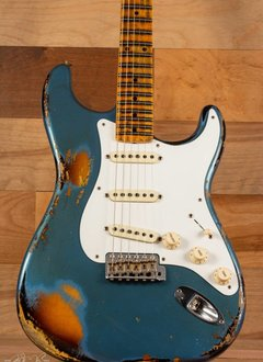 Fender Fender Custom Shop Heavy Relic 1958 Stratocaster, Aged Lake Placid Blue over 2 Tone Sunburst