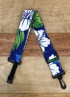 The Hug Strap The Hug Strap For Ukulele - White Hibiscus on Blue