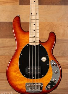 Sterling Sterling Ray34 Electric Bass, Quilt Maple, Honey Burst, Maple Fingerboard