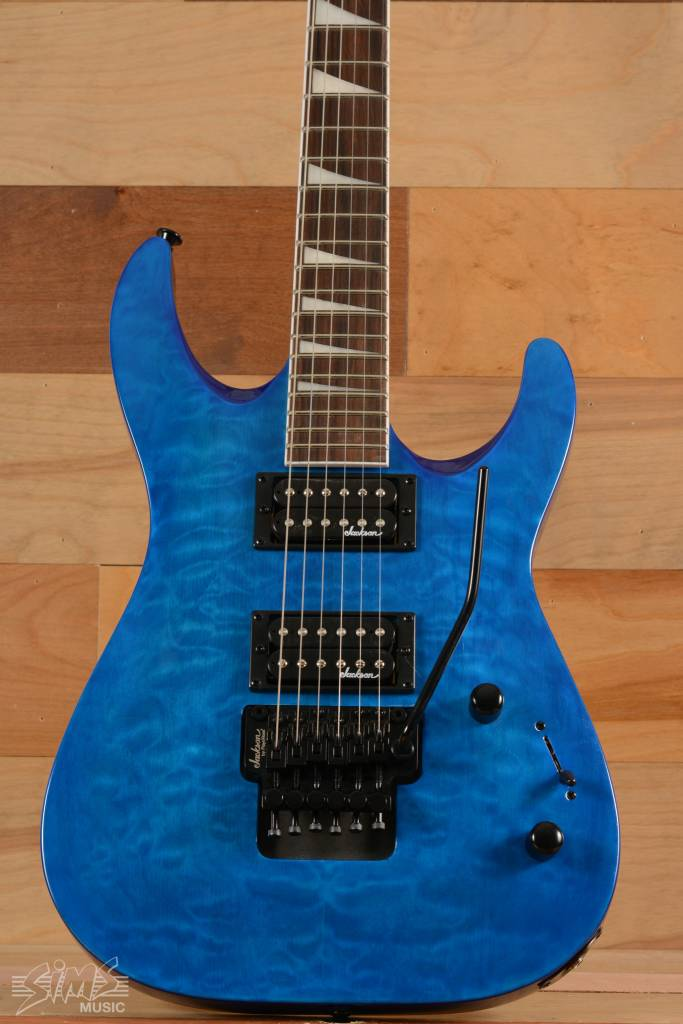 Jackson Jackson JS32Q S Series Dinky™ Arch Top, Rosewood Fingerboard, Quilted Maple Transparent Blue