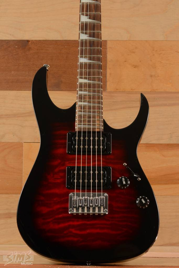 Ibanez Ibanez GRGM22 QA Mikro Guitar, Transparent Red Sunburst