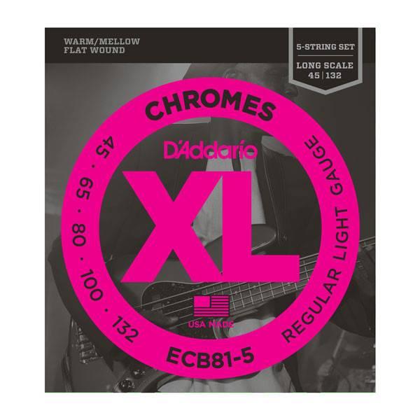 D'Addario D'Addario ECB81-5 Chromes Bass 5-String, Light, 45-132, Long Scale