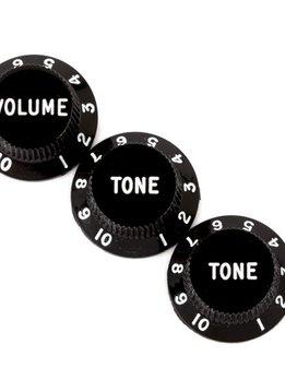 Fender Fender Stratocaster® Knobs, Black (Volume, Tone, Tone) (3)