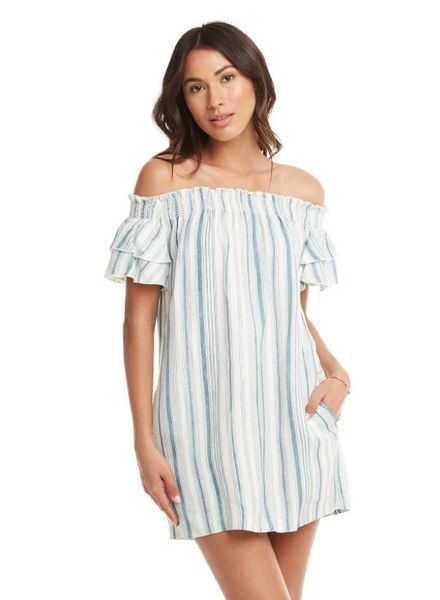 Chaser Beachy Linen Off Shoulder Mini Dress