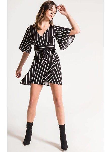 Black Swan Morgan Striped Wrap Dress