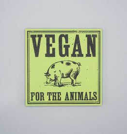 "Vegan for the Animals 6"" Wood Screenprint Green"