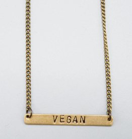 Vegan Horizontal Brass Necklace by Mishakaudi Jewelry