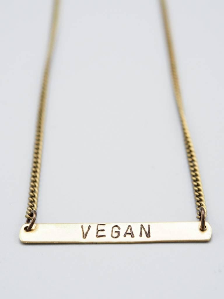 Vegan Horizontal Brass Necklace by Mishakaudi Jewelry