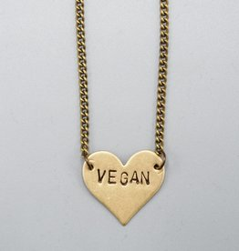 Vegan Heart Necklace by Mishakaudi Jewelry