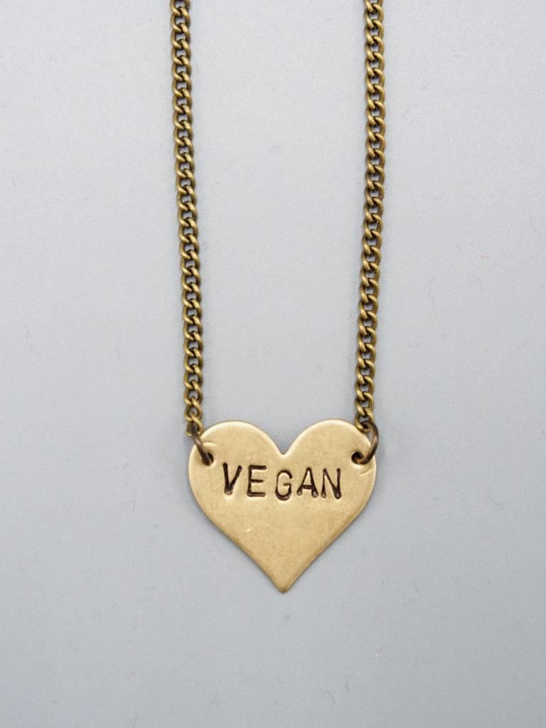 Vegan Heart Necklace by Mishakaudi Jewelry