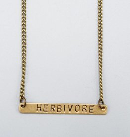 Herbivore Horizontal Brass Necklace by Mishakaudi Jewelry
