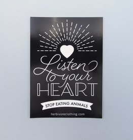Listen to Your Heart, Stop Eating Animals Black Sticker