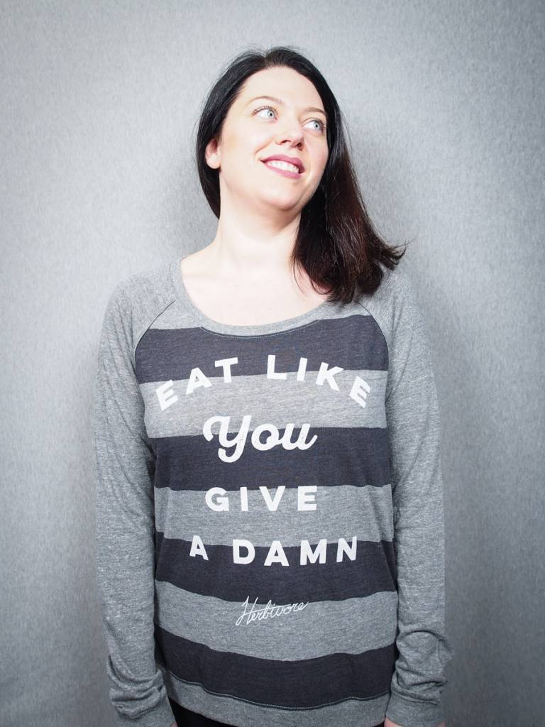 Eat Like You Give a Damn Women's Striped Pullover