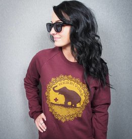 Good Luck Elephant Maroon Pullover Sweatshirt