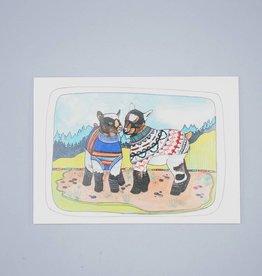 Goats Wearing Sweaters Card