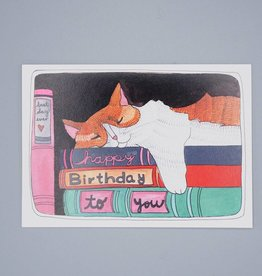 Sleepy Cat Birthday Card