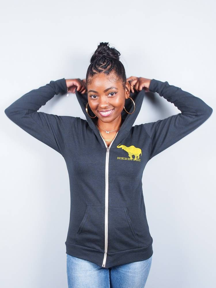 Good Luck Elephant Eco Jersey Zip-Up Unisex Hoodie