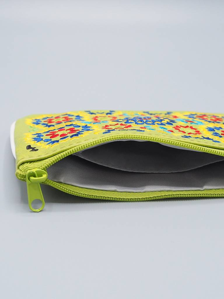Lavishy Embroidered Pouch with Piping