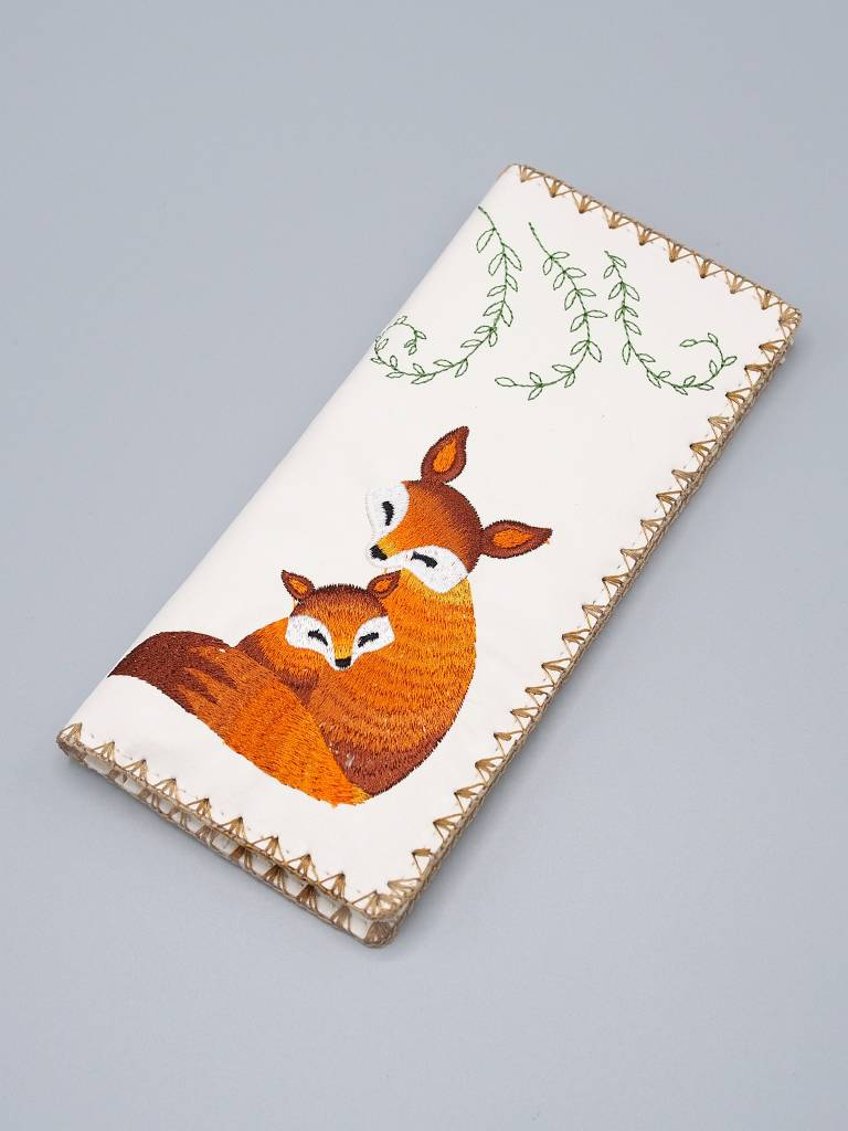 Lavishy Large Embroidered Foxes Wallet