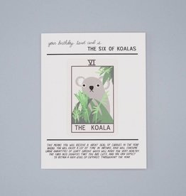 The Six of Koalas Birthday Tarot Card