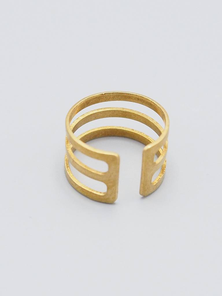Triple Band Brass Ring
