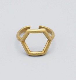 Hexagon Brass Knuckle Ring