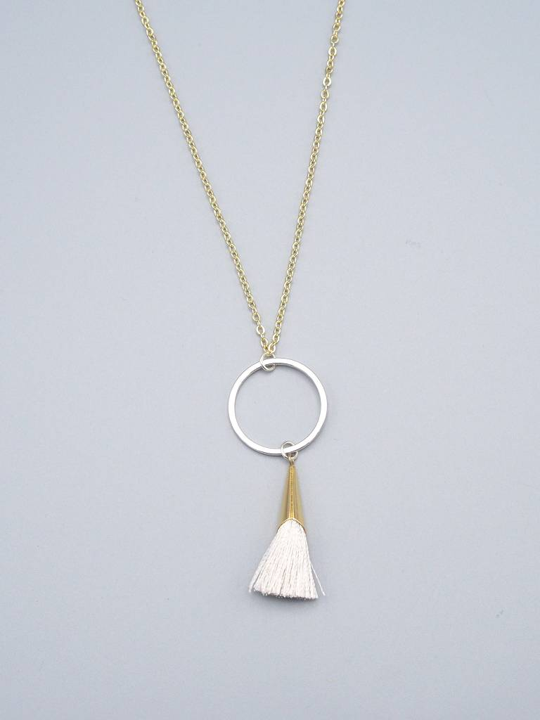 Silver Tassel Necklace by Mishakaudi
