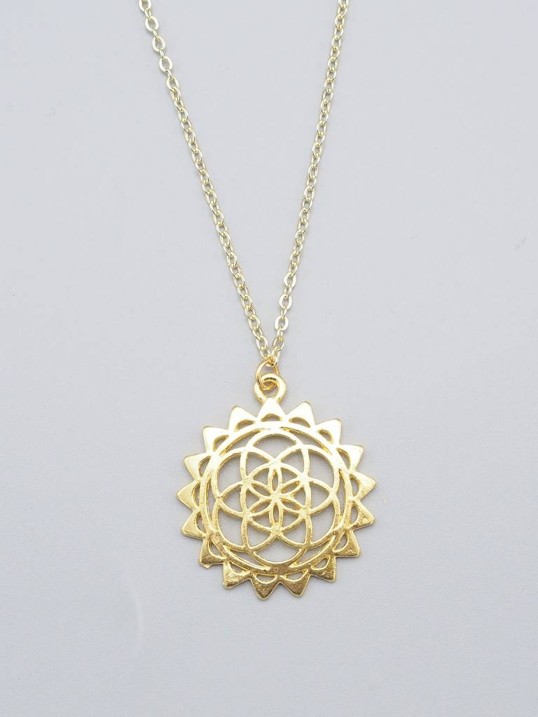 Gold Plated Mandala Necklace by Mishakaudi