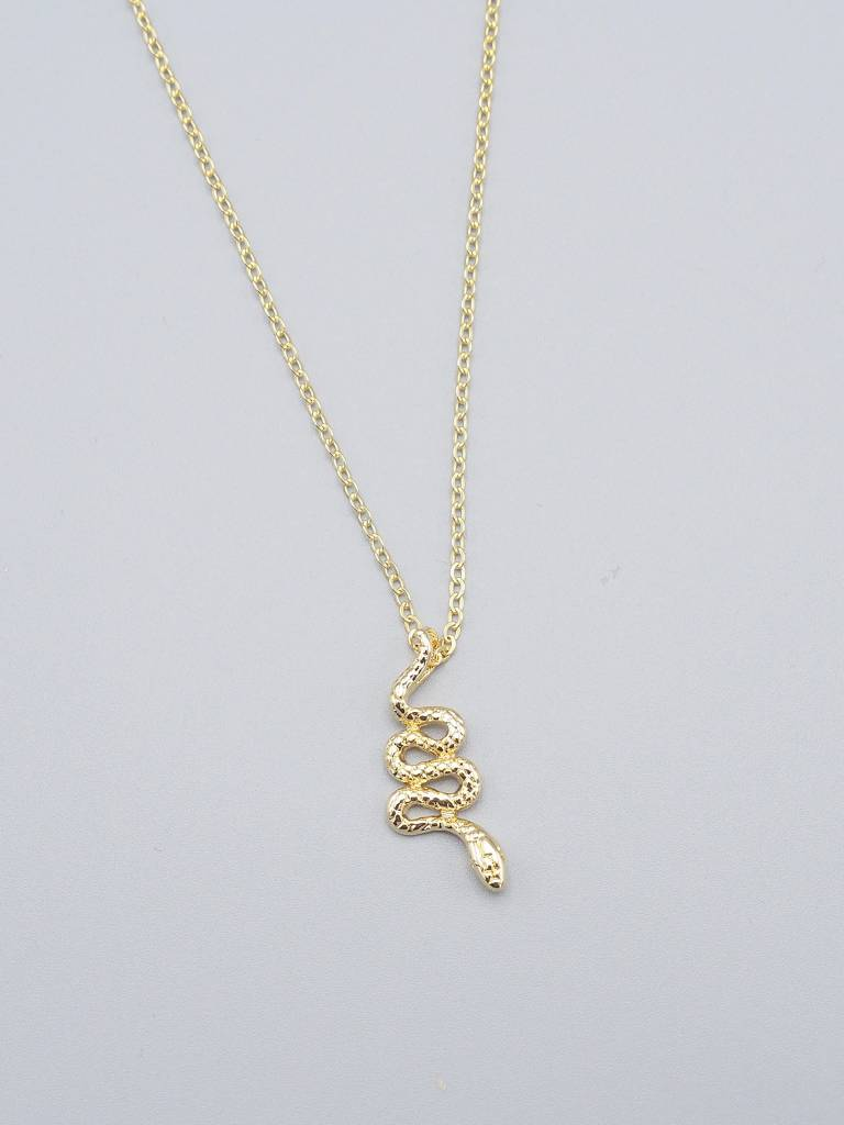 Gold Plated Snake Necklace by Mishakaudi