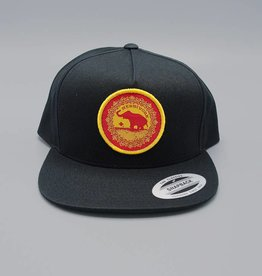 Good Luck Elephant Flat Bill Snapback Hat Black