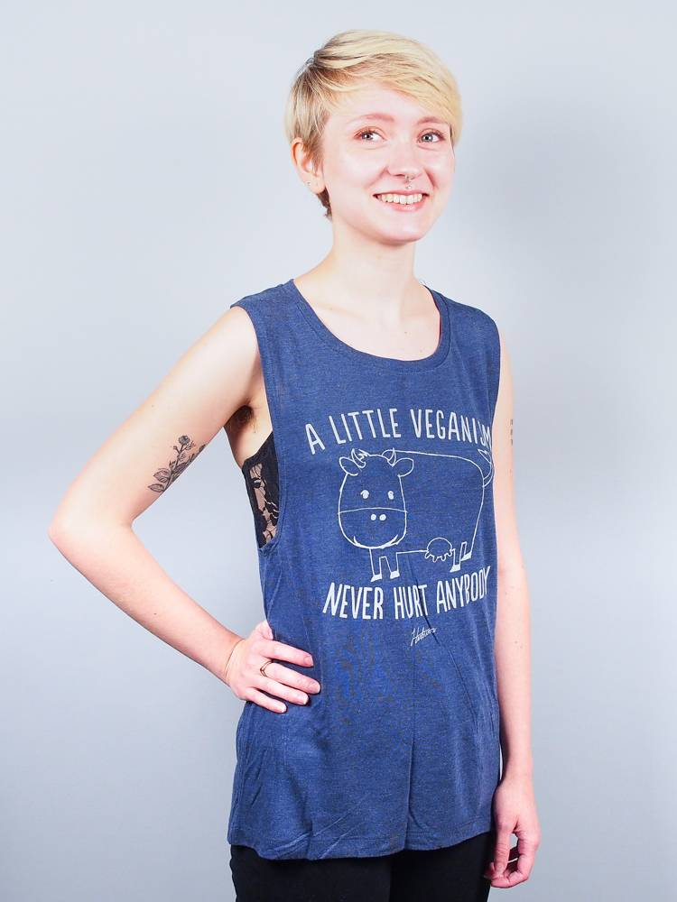 A Little Veganism Never Hurt Anybody Women's Navy Muscle Tank