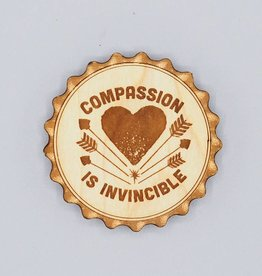 Compassion Is Invincible Wood Bottle Opener Magnet