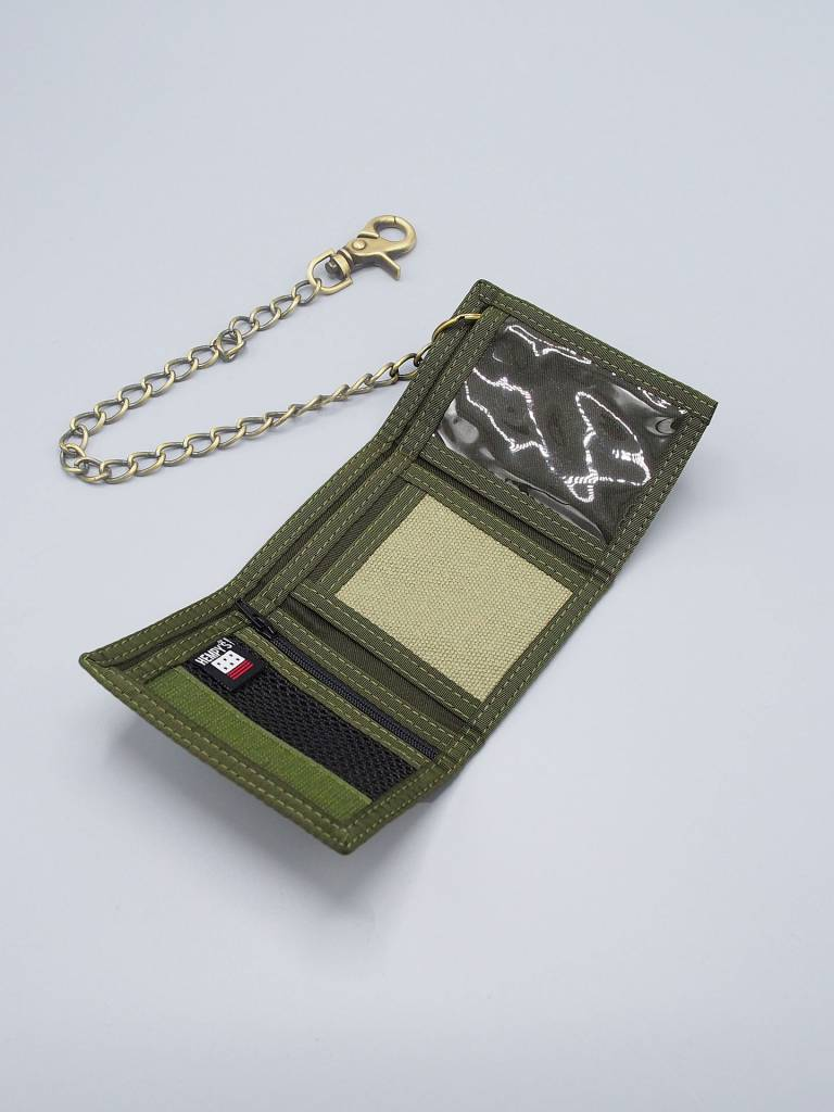 Hempy's Tri-Fold Chain Wallet Green