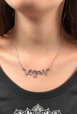 Vegan Script Metal Necklace by Beth Redwood