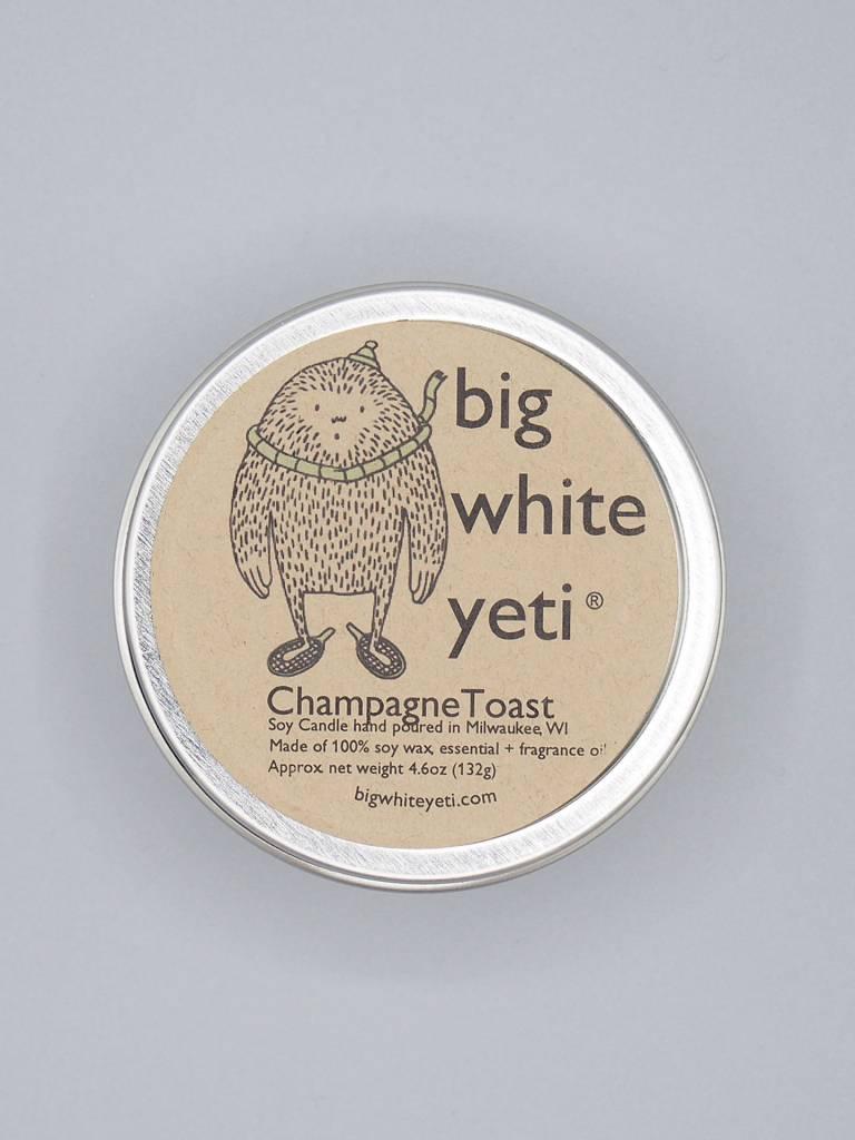 Big White Yeti Candle Champagne Toast