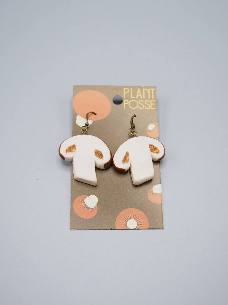 Plant Posse Crimini Mushroom Earrings