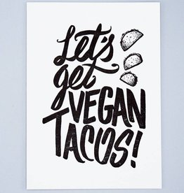 Let's Get Vegan Tacos Letterpress Card