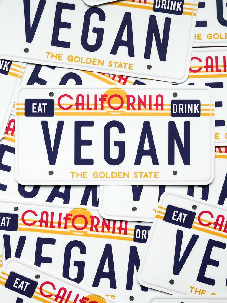 CA Vegan License Plate Sticker