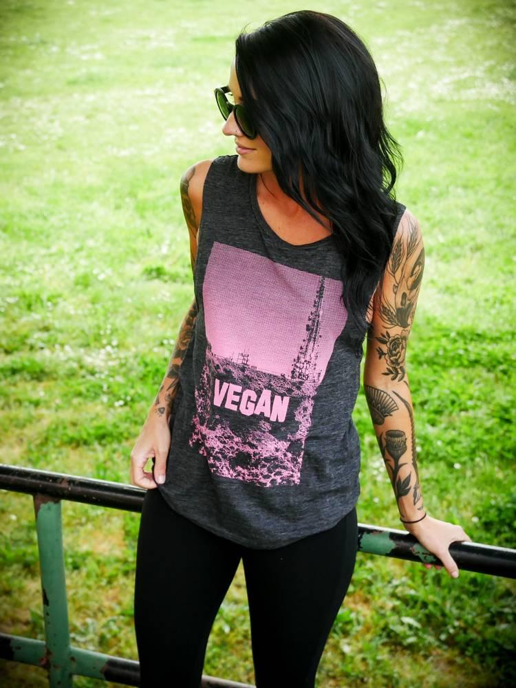 Pink & Grey Slub Vegan Hollywood Muscle Tank