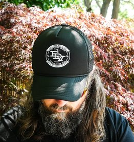 Eat Drink Vegan Black Old School Trucker Hat