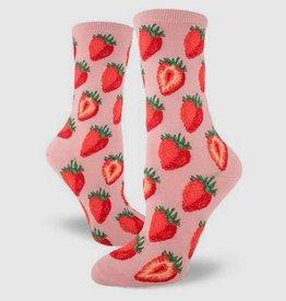 Sweet Strawberries Pink Women's Crew Sock from Mod Socks